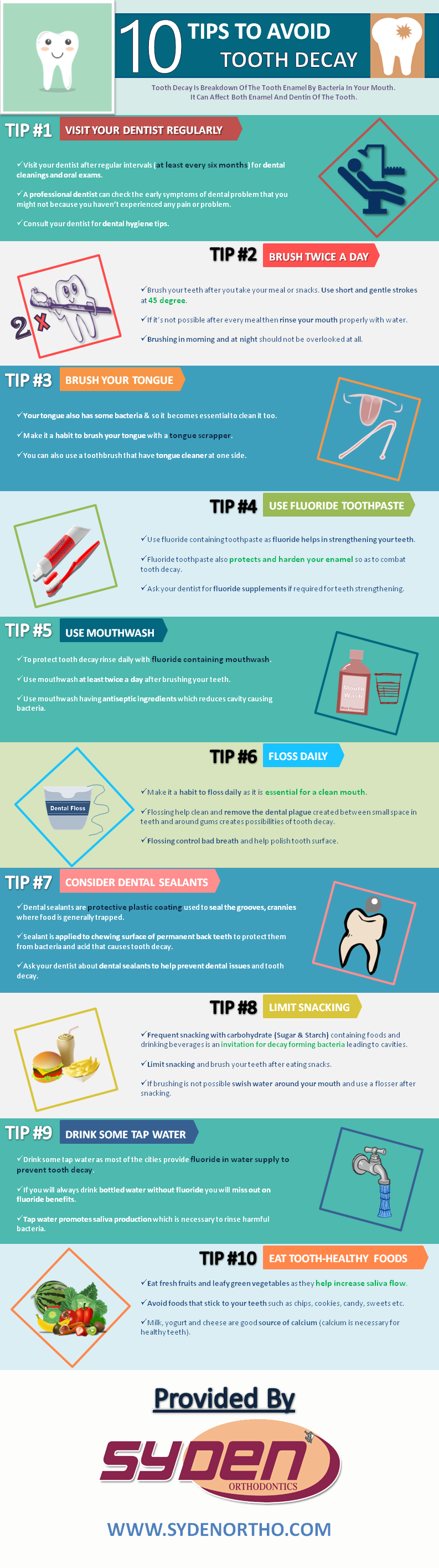 tips to avoid dental decay infographic - Ten Tips to Prevent Tooth Decay