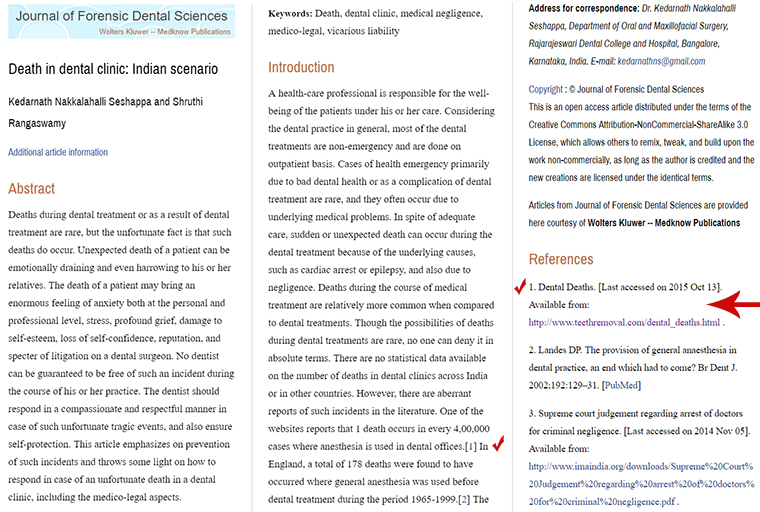 death in dental clinic indian - TeethRemoval.com in the Scientific Literature