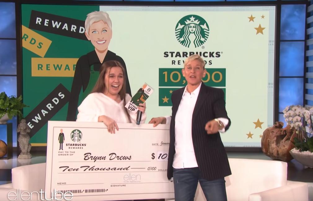brynn drews wisdom teeth ellen starbucks - Woman wins $10,000 for paying it backward after wisdom teeth surgery